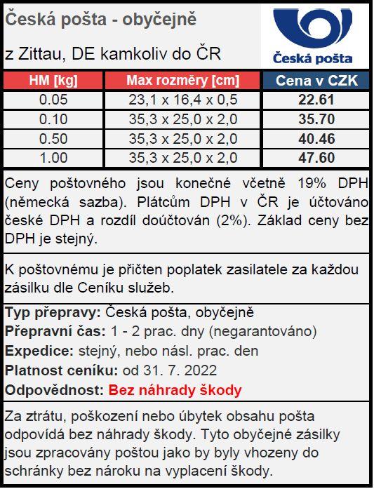 Ceník poštovného po ČR