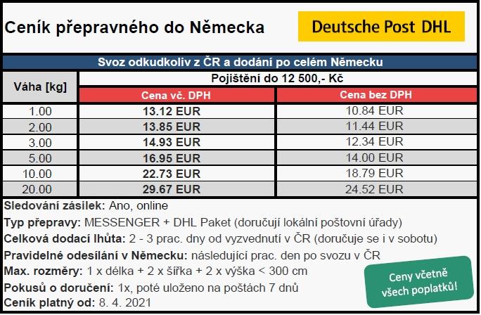 Ceník poštovného po Německu